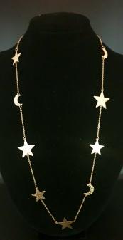 łańcuszek ze stali chirurgicznej złoty Moon river z księżycami
