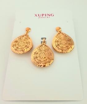 Komplet kolczyki+zawieszka złoty Xuping